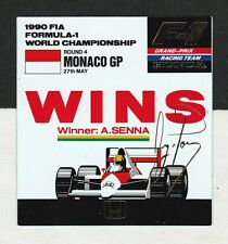 McLAREN HONDA F1 TEAM AYRTON SENNA WINS MONACO GP 1990 ORIGINAL PERIOD STICKER