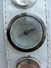 SOLO WATCH LADIES GIRLS JEWELLED PRISM CUFF WRISTWATCH WHITE LEATHER STRAP