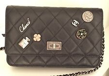 Authentic New CHANEL 2015 Lucky Charms Black Reissue WOC Black CC Logo Bag