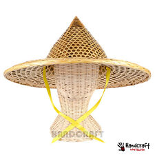 Vintage Thai Lao Chinese Palm Leaf Rattan Asian Traditional Hat Native Costume
