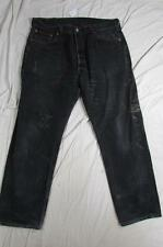 Levi 501 USA Made Button Fly Black Denim Jeans Tag 38x30 Measure 36x29.5 Vtg