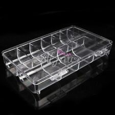 Clear Empty Storage Case Box 10 Compartment False Nail Art Acrylic Tips Tool