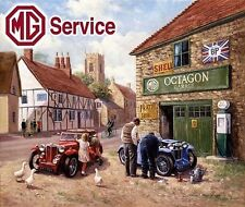 MG Service Car Garage in a Rural Village Vintage Mechanic, Large Metal/Tin Sign