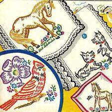 Hand Embroidery Transfer 267 Horses Scotties Dogs Puppies for Vanity Scarfs sets