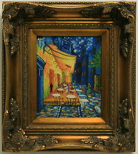 Classic Repro Van Gogh Cafe Terrace at Night City Abstract FRAMED OIL PAINTING