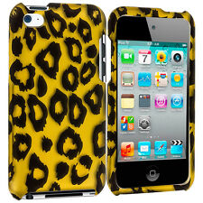 For iPod Touch 4th Gen 4G Hard Design Rubberized Case Cover Yellow Leopard