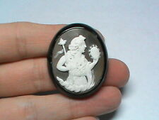 Antique Victorian Whitby Jet carved Cameo Brooch