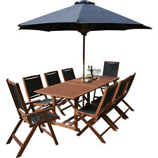8 Seater Dining Furniture Patio Set Wooden Outdoor Garden Table Chairs Parasol