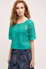 NWOT SZ XL $168 ANTHROPOLOGIE CUTWORK LACE TOP BY TRACY REESE GREEN