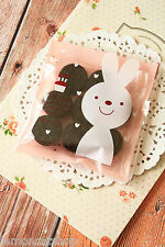 20pc Small Happy Day PINK BUNNY cello cookie bags kawaii plastic sweet packaging