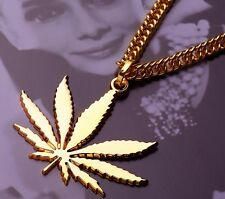 "Hip Hop WEED Marijuana Leaf Pot Pendant Necklace 32"" Chain"