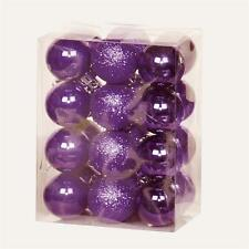 Christmas Tree Decoration 24 Pack 30mm Mini Shatterproof Baubles - PURPLE