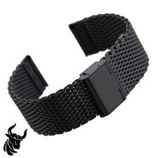24mm PVD BLACK SHARK WIRE MESH BRACELET WATCH BAND Divers Strap for Seiko