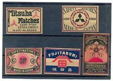 Vintage Japan Japanese China Chinese Asian 5 Matchbox Labels 1910s