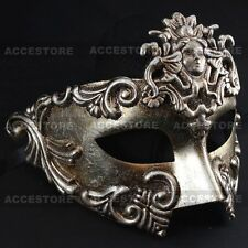 Warrior Roman Greek Metallic Silver Venetian Masquerade Men's Half Face Mask