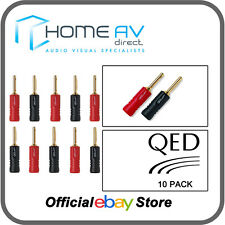 QED Screwloc ABS 24k Gold Plated 4mm Banana Plugs  - 10 Pack | QE1885
