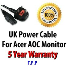 NEW UK Mains Power Lead Cable Cord AOC Acer Monitor LCD Screen Computer Display