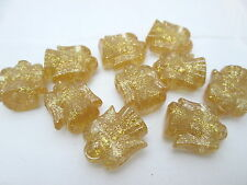 10 Novelty 25mm Christmas Angel Pony Beads - Gold Sparkle