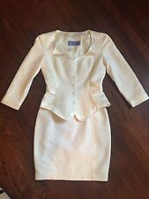 Thierry Mugler Paris Beautiful White Vintage Cinch Peplum Waist Skirt Suit- 38