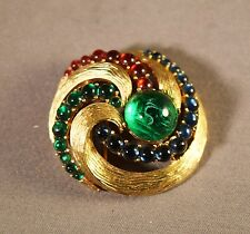 "Fabulous Crown Trifari Jewels of India ""Gem"" Inset Swirled Brooch!"