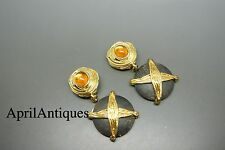 Vintage Yves Saint Laurent YSL yellow poured glass wood drop earrings