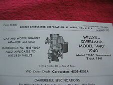 "1940 WILLYS OVERLAND MOD""440"", 1941 MA TRUCK,CARTER CARBURETOR SPEC & INFO SHEET"