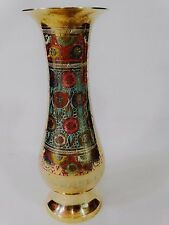 "Cloisonne Brass Vase Floral Enamel  9 3/4"" Tall Chinese Antique"