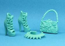 Barbie Mint High Heel Gladiator Sandals Shoes Textured Purse Necklace 2015