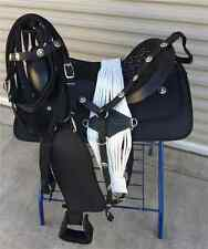 """14"""" NEW BLACK WESTERN PLEASURE SYNTHETIC TRAIL SADDLE PACKAGE GREAT BUY"""