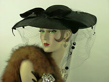 VINTAGE HAT 1940s LILLY DACHE BLACK FELT WIDE BRIM HAT, SEQUIN VEIL & VELVET BOW