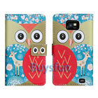 Cartoon Owl Deer Card Slot Wallet Leather Cover Case For Samsung Galaxy S2 i9100