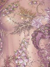 By the Yard Super luxury sequin Fabric Dance Dress Material Dull Peachy pink