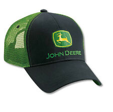 NEW John Deere Black Twill Green Mesh Cap Embroidered Logo JD Hat LP27717