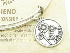 Wind and Fire Friends Silver Charm Wire Bangle Stackable Bangle Bracelet Gift