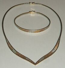 Vintage tricolor Sterling Silver 925 Italy woven V necklace w/ matching bracelet