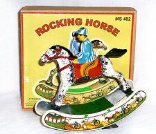 CHEVAL A BASCULE MECANIQUE jouet en tole old toys tin toys ROCKING HORSE