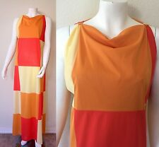 Vtg 60s Vanity Fair Colorblock Mod Nylon Shift Maxi Dress Patchwork Nightgown