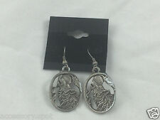 BEAUTIFUL WOLF PEWTER Dangle EARRINGS Wolf Howling at the Moon WEREWOLF