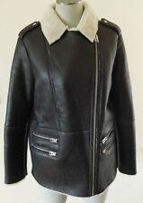 Topshop Sheepskin Shearling Fur black leather jacket coat size 8 US EUC