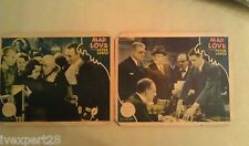 2x MAD LOVE Original 1935 Lobby Cards MGM Peter Lorre, Frances Drake, C. Clive