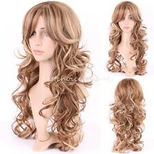 20inch Long Curly Wavy Hair Wigs Women Natural Dress Full Wig Brown Blonde Mix
