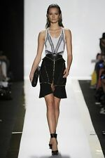 NWT HERVE LEGER HARNESS STYLE WAIST BELT BLACK CORSET LEATHER $798.00 M/L