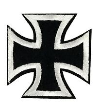 "Black White Iron Cross Embroidered Patch 2.5"" DIY Iron on Gothic Biker Chopper"