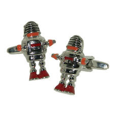 Silver & Orange Robot Cufflinks With Gift Pouch Retro Sci-Fi Robots Science