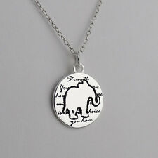 Elephant Charm Necklace - 925 Sterling Silver Handmade Inspirational Pendant NEW