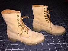 "womens 8.5 A vintage Timberland gold leather lace up 7"" ankle boots 7.5 8 9"