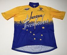 (L - 4) Vomax JUNEAU FREEWHEELERS Yellow Blue Bike Jersey Race Ride Alaska