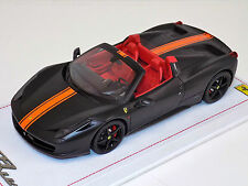 1/18 BBR Ferrari 458 Spider Matt Black Orange stripe black wheels Alcantara
