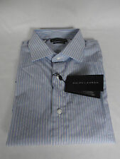 "Ralph Lauren BLACK Label Collection Blue Striped Cotton Shirt UK 17""  RRP £215"