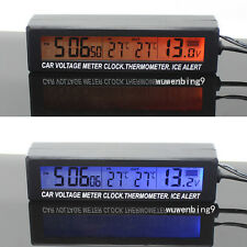 1pcs - Car electronic clock Inside and outside external temperature battery volt